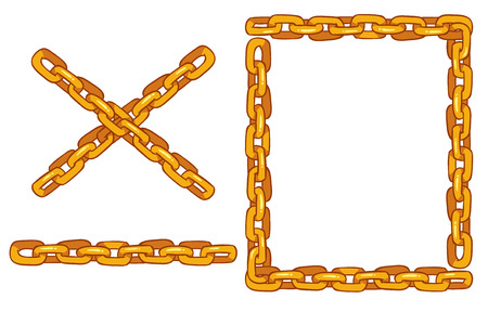 curved: set of vector chains for design - frame and parts