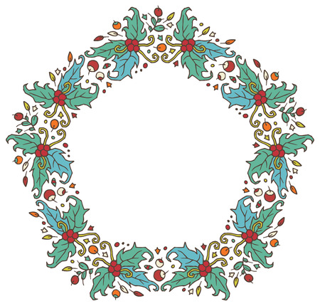 ilex: round frame made of branches, leaves and berries - floral pattern for design of cards and invitations