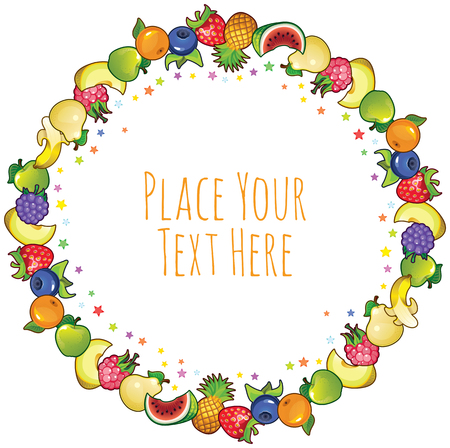 gastronomic: different fruit with colorful stars round frame - for invitation, cards, greetings and so on