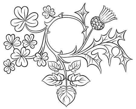 Ornato trifoglio telaio e cardo - vettore disegno a mano artistica