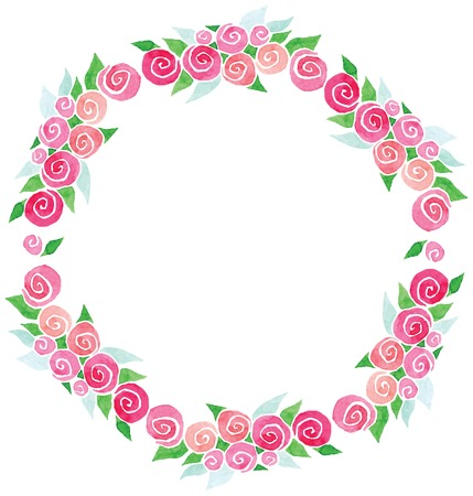 flower shape: vector watercolor wreath rose flowers and green leaves for invitations, cards, tickets, congratulations
