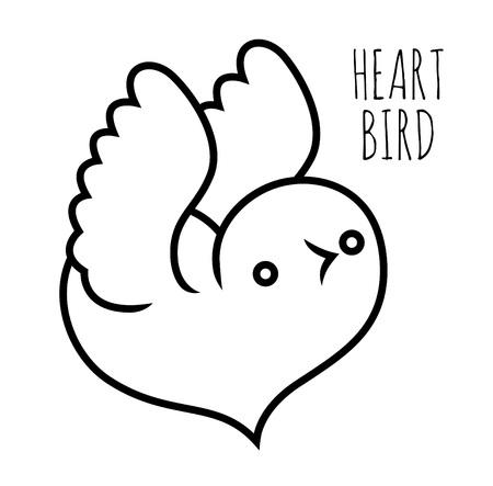 lovebird: lovebird - heart shaped bird - vector stylized illustration Illustration