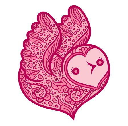lovebird: lovebird - heart shaped bird with boho zentangle stylized design