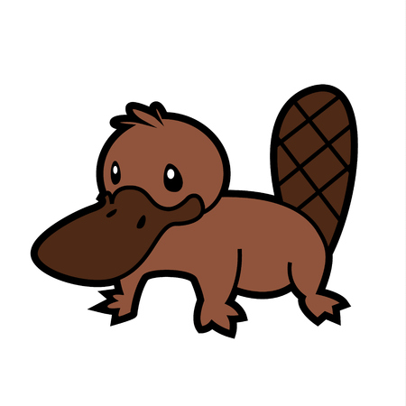 platypus: platypus line drawing vector Australian aborigine - sign for creating design or coloring book