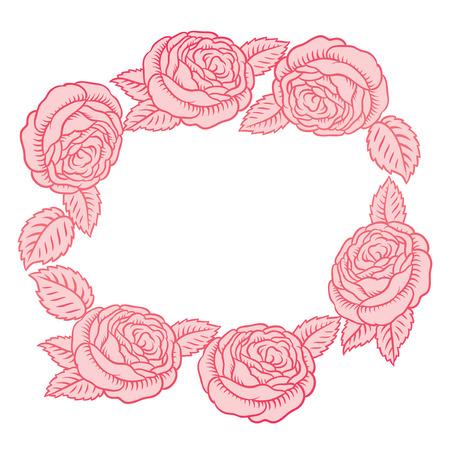 hem: round vector frame - classic retro pink roses