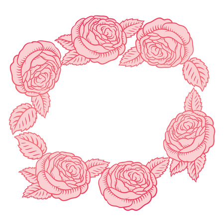 round vector frame - classic retro pink roses