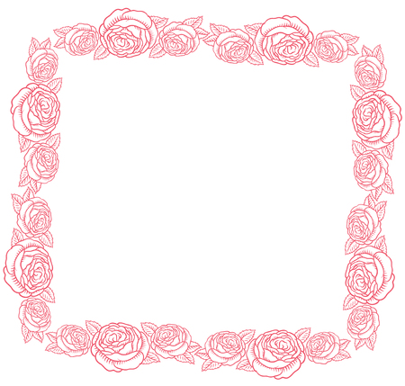 fillet: pink vector frame - classic retro pink roses Illustration