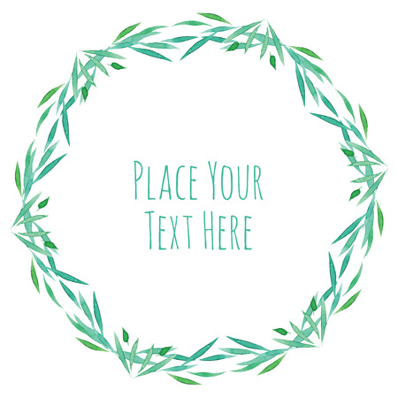 phytotherapy: Round frame green grass garland - watercolor vector template Illustration