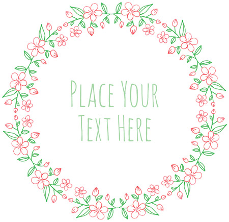 Round frame flover garland - watercolor vector template Ilustrace