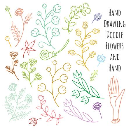 Set of summer flowers delicate shades - vector hand drawing art Stock Illustratie