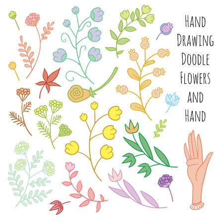 tender: Set of summer flowers delicate shades - vector hand drawing art Illustration
