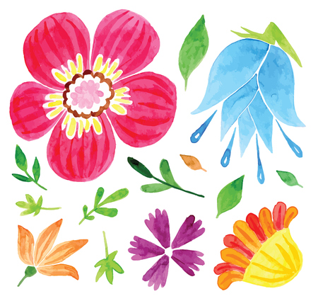 Set of flowers  hand drawing painted in watercolor on white paper. Sketch of flowers and herbs. Wreath, garland of flowers Vettoriali