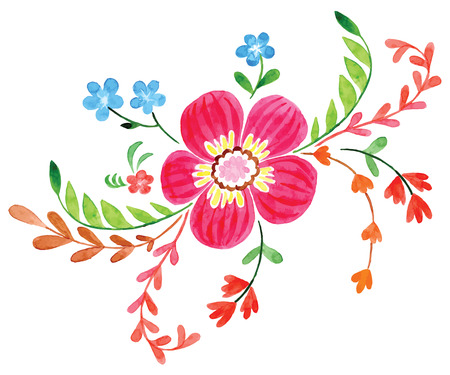 Flowers hand drawing painted in watercolor on white paper. Sketch of flowers and herbs. Wreath, garland of flowers