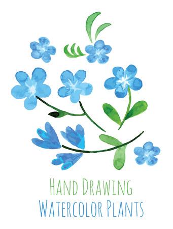 Ensemble de dessin fleurs peinte à la main à l'aquarelle sur papier blanc. Croquis de fleurs et d'herbes. Guirlande, guirlande de fleurs