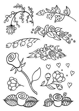 dates fruit: set different hand drawing vector flowers for the invitations, cards, banners - set of floral elements