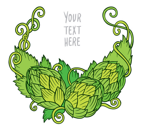 ale: Hops vector visual graphic vignette - design or logos, ideal for beer, stout, ale, lager, bitter labels and packaging