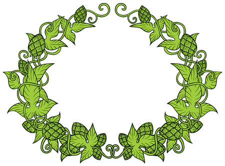 Hops vector visual graphic frame of border - design or logos, ideal for beer, stout, ale, lager, bitter labels and packaging