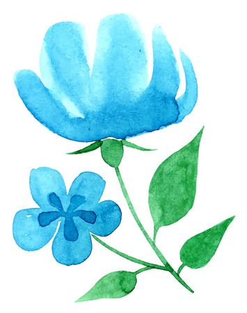 vectorized: Vectorized watercolor hand drawing floral theme - Large blue flower Illustration