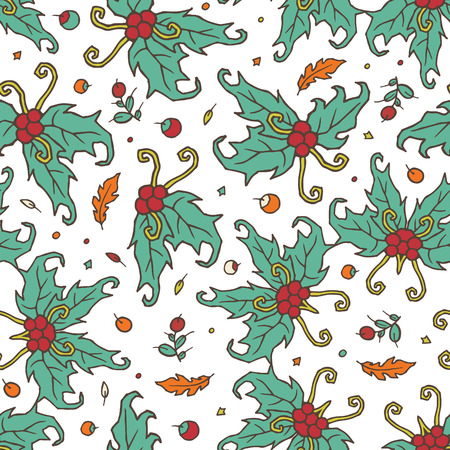 dates fruit: Endless seamless pattern with floral patterns - holly, tree branches, leaves and berries