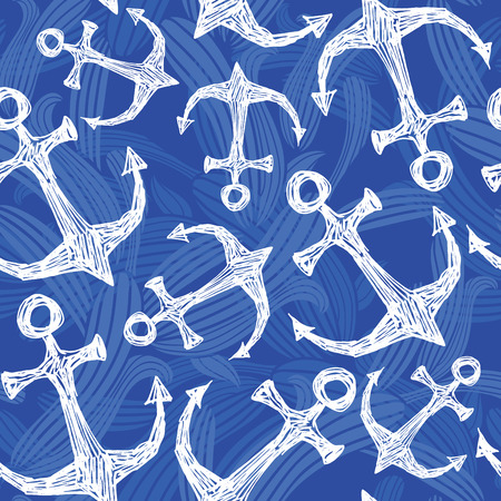 Seamless vector pattern - hand drawn sea anchor