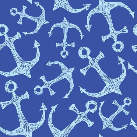 anchored: Seamless vector pattern - hand drawn sea anchor