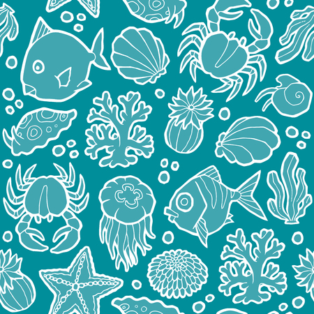 sea anemone: seamless vector pattern with marine animals and plants Illustration