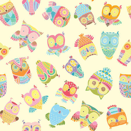 colourfull: Seamless cute colourfull zentangle owl pattern background in vector
