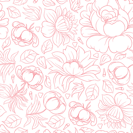 bachelorette: Hand drawing vector floral seamless pattern - flowers in Russian style folk handicraft Zhostovo - for invitations, flyers, postcards, cards and so on