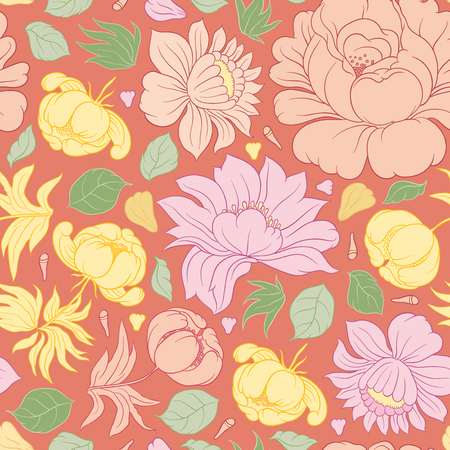 invitation background: Hand drawing vector floral seamless pattern - flowers in Russian style folk handicraft Zhostovo - for invitations, flyers, postcards, cards and so on