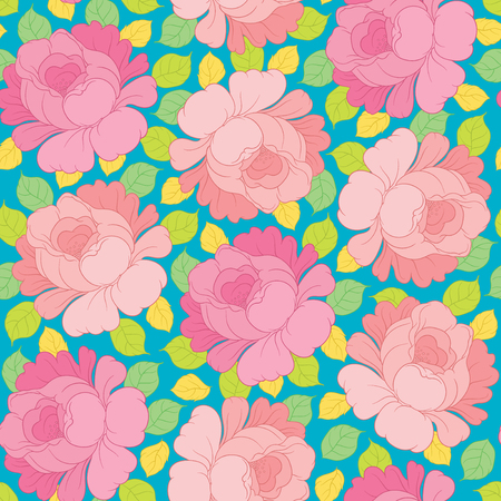leaf background: Hand drawing vector floral seamless pattern - flowers in Russian style folk handicraft Zhostovo - for invitations, flyers, postcards, cards and so on