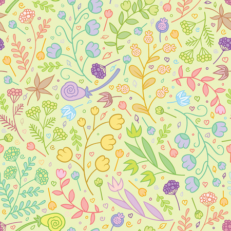 vector sweet tender summer flowers seamless pattern Stock Illustratie