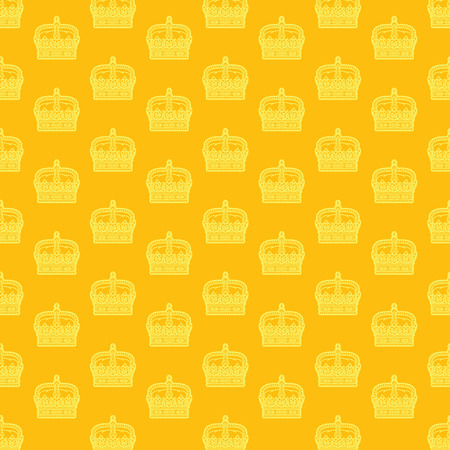 coronation: Endless seamless vector pattern with golden crowns Illustration