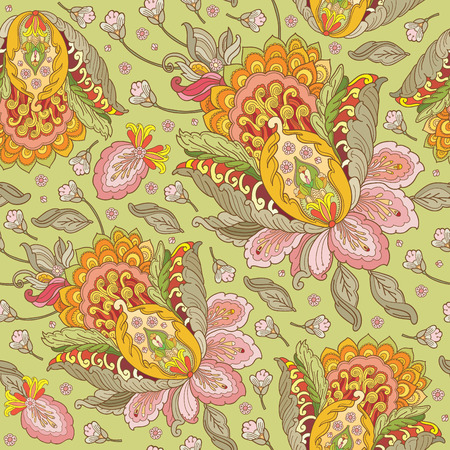 bright color: seamless vector pattern with flowers in oriental style Illustration
