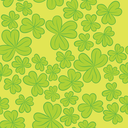 context: Clover leaves on a light background - Seamless vector trefoil ornament