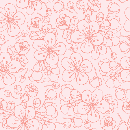 hand drawing flowering cherry, plum or sakura - seamless vector pattern Illustration