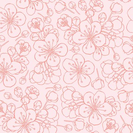 hand drawing flowering cherry, plum or sakura - seamless vector pattern Illustration