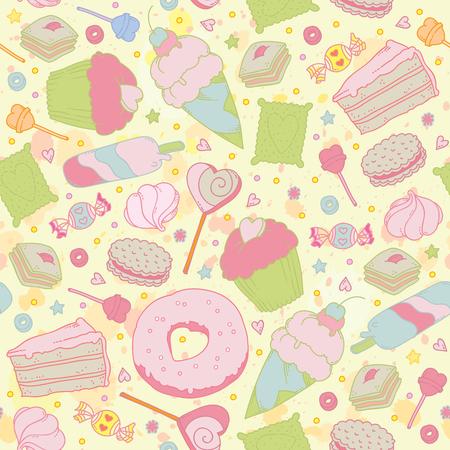 Sweet Heart seamless - bonbons, petits gâteaux, des bonbons et des gâteaux. Vous pouvez concevoir des cartes, couverture d'ordinateur portable, le papier d'emballage et ainsi de suite. Printemps thème fond. Vecteurs