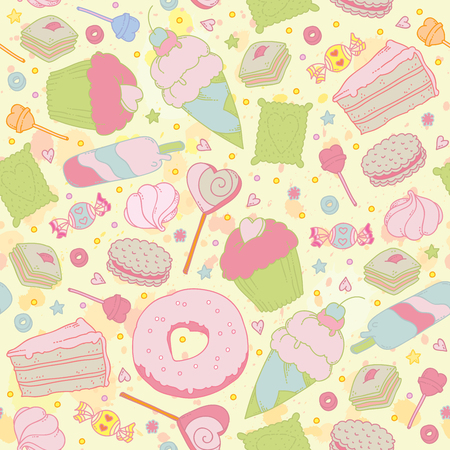 girlie: Sweet heart seamless pattern - sweets, cupcakes, candy and cake. You can design cards, notebook cover, wrapping paper and so on. Spring theme background.