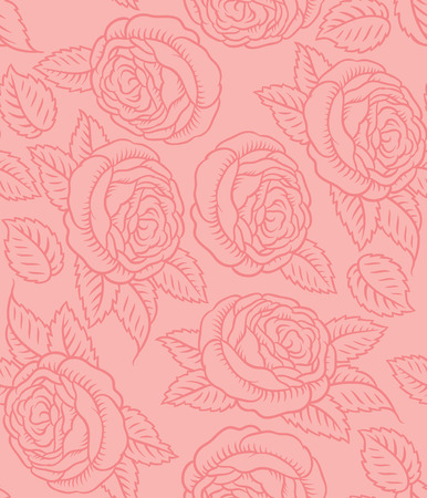 paperhanging: Seamless vector pattern - drawing of classic retro roses  Illustration