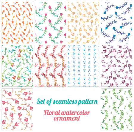 watercolour painting: Set of seamless patterns - Hand drawing watercolor pastel colors lovely flowering branches