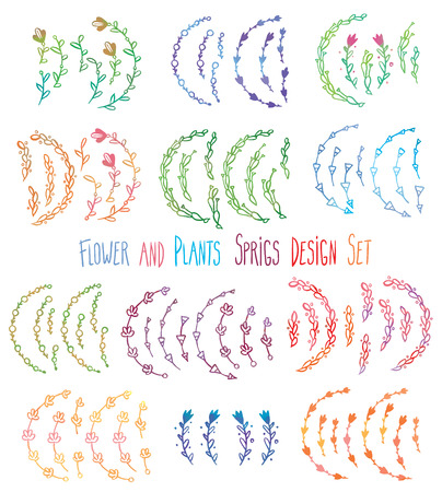 sprigs: vector sprigs flowers and leaves painted watercolor hand drawn design elements