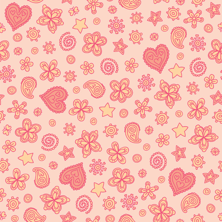 Heart pattern with stars in vector. Cute stylized background in gentle colors. Touching seamless pattern with a lot of hearts.