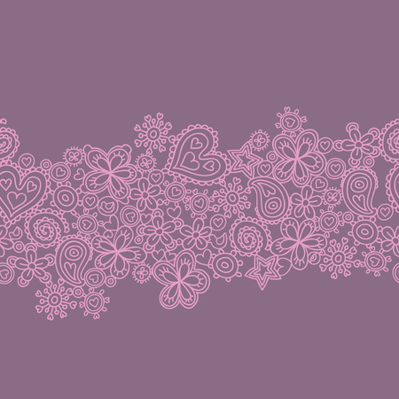 Seamless pattern made of flowers and hearts. Seamless pattern can be used for wallpapers, pattern fills, web page backgrounds, surface textures.