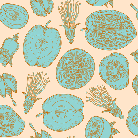 graphically: Seamless pattern made of vintage graphically drawing  different fruits vector - can be used for wallpapers, pattern fills, web page backgrounds, surface textures.