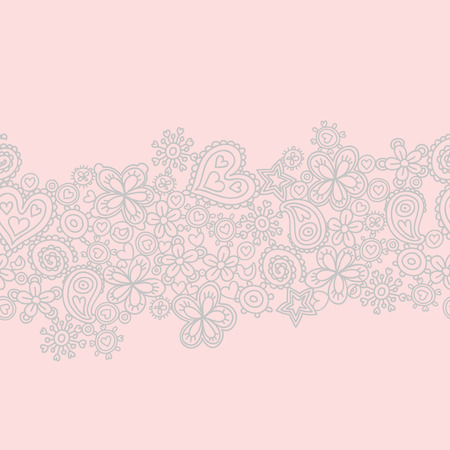 Seamless pattern made of flowers and hearts - can be used for wallpapers, pattern fills, web page backgrounds, textile and invitations