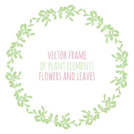 decorate notebook: Hand drawn wreath with flowers leaf and branches. Round frame for Christmas cards and for invitations to any festive event Illustration