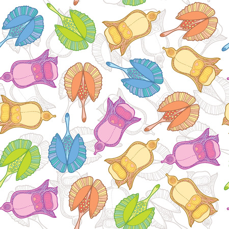 decorate notebook: Vector floral seamless pattern. Colorful floral pattern with fruit seeds and plants in decorative style Illustration
