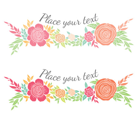 garland of flowers and leaves in current trendy design - vector template for invitations, flyers, postcards, cards and so on