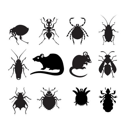 verschillende cartoon of symbolische foto dieren - set van huishoudelijke plagen in pure vector stijl Stock Illustratie