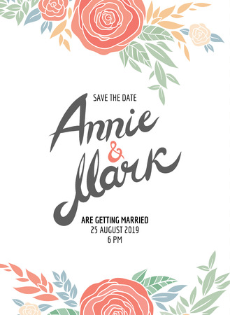 current: Invitation wedding card with current trendy flowers vector template - for invitations, flyers, postcards, cards and so on